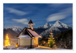 Premium poster Christmas chapel at Watzmann