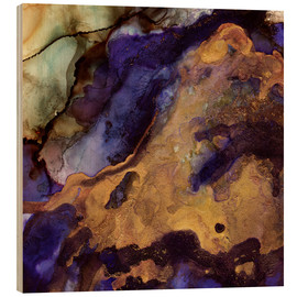 Wood print  Purple and Gold - SpaceFrog Designs