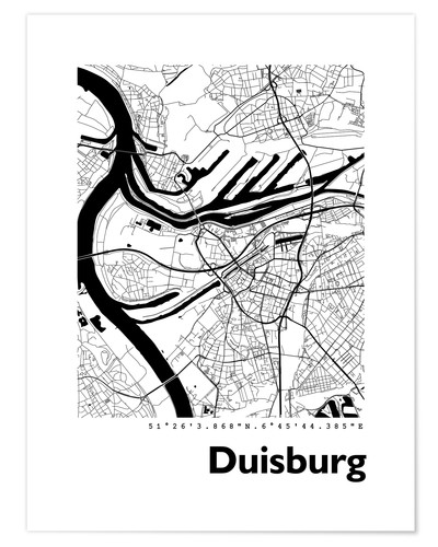 Premium poster City map of Duisburg