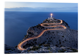 Acrylic print  Light trail to the lighthouse at Cap Formentor, Mallorca - Michael Valjak