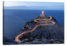 Canvas print  Light trail to the lighthouse at Cap Formentor, Mallorca - Michael Valjak