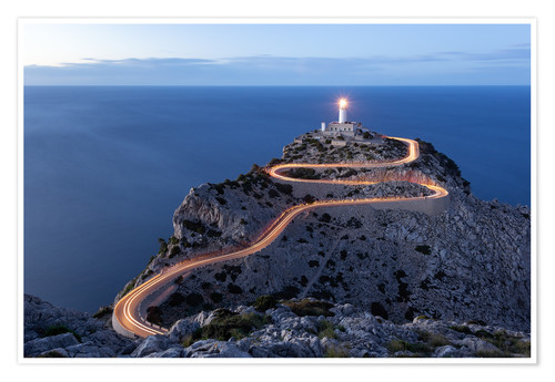 Premium poster Light trail to the lighthouse at Cap Formentor, Mallorca