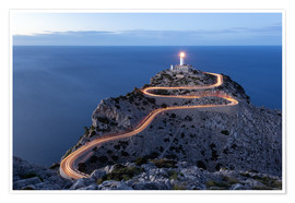 Premium poster  Light trail to the lighthouse at Cap Formentor, Mallorca - Michael Valjak