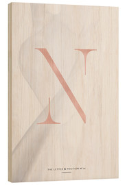 Wood print  ROSEGOLD LETTER COLLECTION N - Stephanie Wünsche