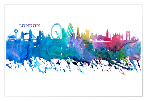 Premium poster Skyline LONDON Colorful Silhouette