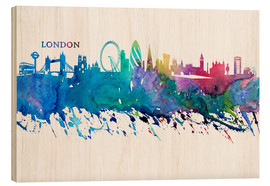 Wood print  Skyline LONDON Colorful Silhouette - M. Bleichner