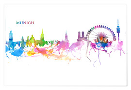 Premium poster Skyline MUNICH Colorful Silhouette