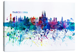 Canvas  Skyline BARCELONA Colorful Silhouette - M. Bleichner