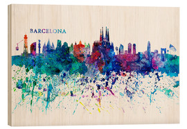 Wood  Skyline BARCELONA Colorful Silhouette - M. Bleichner
