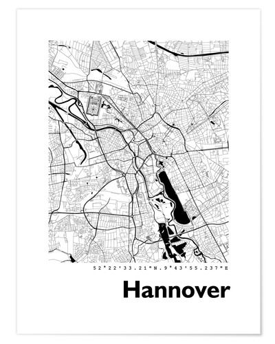 Poster City map of Hannover