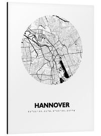 Aluminium print  City map of Hannover - 44spaces
