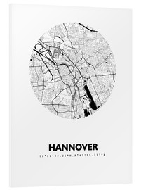 Foam board print  City map of Hannover - 44spaces