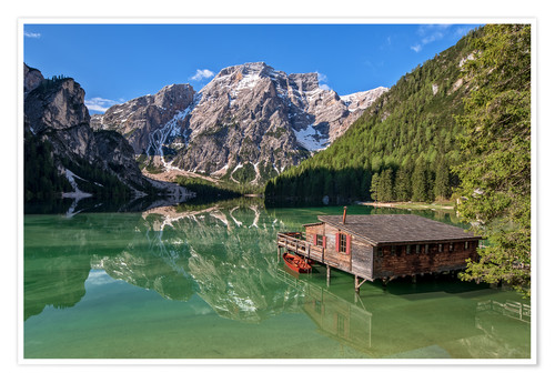 Premium poster Braies Lake South Tyrol