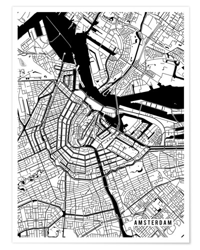 Premium poster Amsterdam Netherlands Map