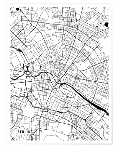 Main Street Maps Berlin Germany Map Poster Posterlounge