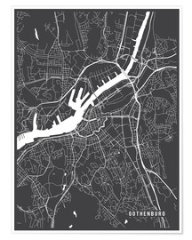 Premium poster Gothenburg Sweden Map