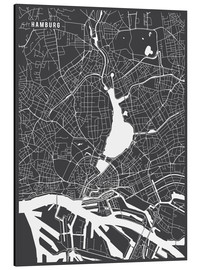 Aluminium print  Hamburg Germany Map - Main Street Maps