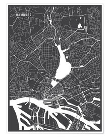 Premium poster  Hamburg Germany Map - Main Street Maps