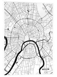 Acrylic print  Moscow Russia Map - Main Street Maps