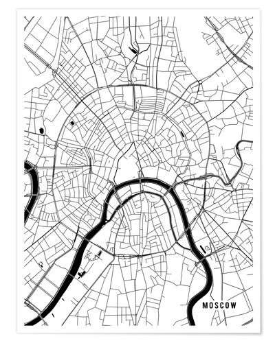 Premium poster Moscow Russia Map