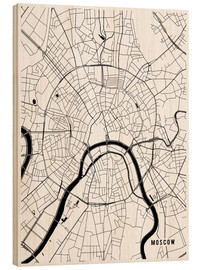 Wood print  Moscow Russia Map - Main Street Maps