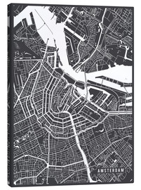 Canvas print  Amsterdam Netherlands Map - Main Street Maps