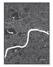 Premium poster  London England Map - Main Street Maps