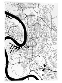 Acrylic glass  Dusseldorf Germany Map - Main Street Maps