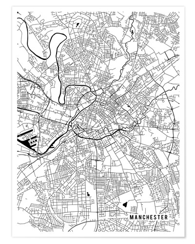 Map Of Uk Manchester.Manchester England Map Posters And Prints Posterlounge Co Uk