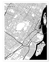 Premium poster  Montreal Canada Map - Main Street Maps