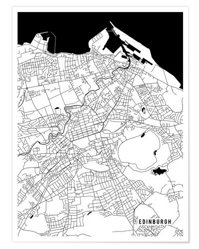 Edinburgh Scotland Map Posters and Prints | Posterlounge.co.uk