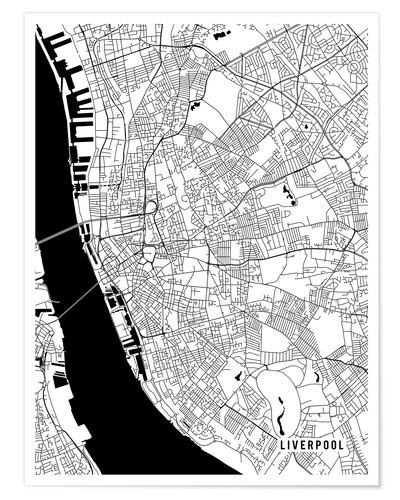 Map Of England Poster.Premium Poster Liverpool England Map