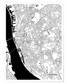 Premium poster Liverpool England Map