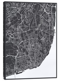 Canvas print  Map of Lisbon, Portugal - Main Street Maps