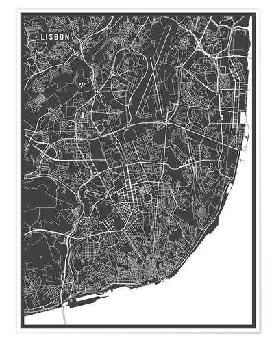 Premium poster Map of Lisbon, Portugal