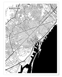 Premium poster Barcelona Spain Map