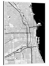 Alu-Dibond  Chicago USA Map - Main Street Maps