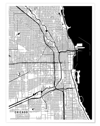 Premium poster Chicago USA Map