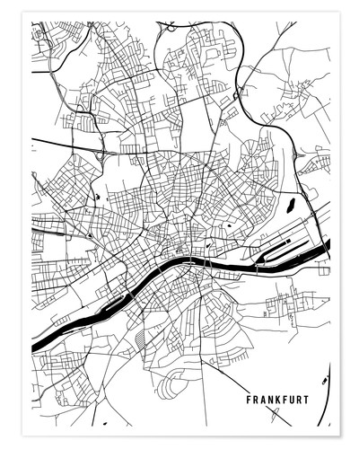 Main Street Maps Frankfurt Germany Map Poster Posterlounge