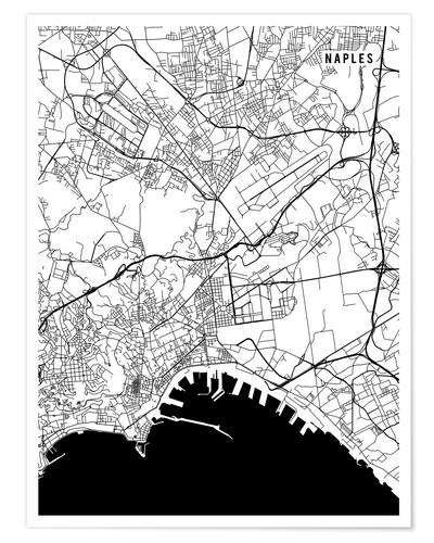 Naples Italy Map Posters and Prints | Posterlounge.co.uk