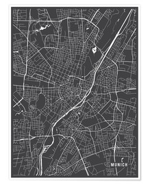 Poster  Munich Germany Map - Main Street Maps
