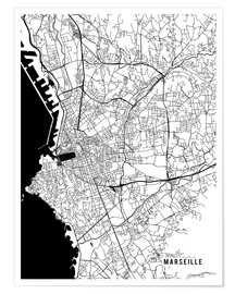 Premium poster Marseille France Map