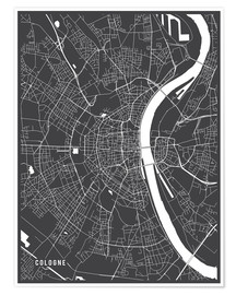 Premium poster  Cologne Germany Map - Main Street Maps