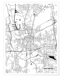 Poster  Dortmund Germany Map - Main Street Maps