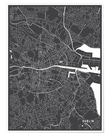 Premium poster  Dublin Ireland Map - Main Street Maps