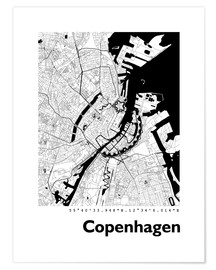 Poster  City map of Copenhagen - 44spaces
