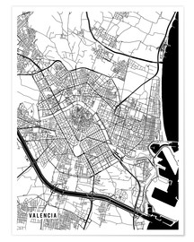 Premium poster  Valencia Spain Map - Main Street Maps