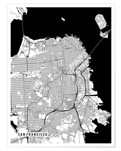 Premium poster San Francisco USA Map