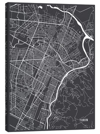 Canvas print  Turin Italy Map - Main Street Maps