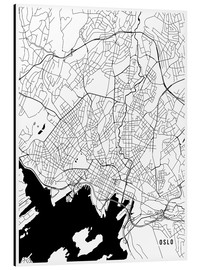 Aluminium print  Oslo Norway Map - Main Street Maps